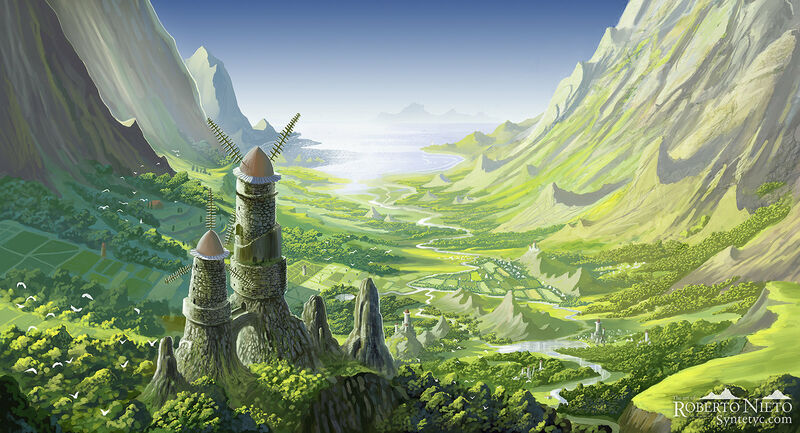 Fan art of the Nausicaa movie, the emblematic valley of the wind, a beautiful panorama. By Roberto  Nieto - Syntetyc.com