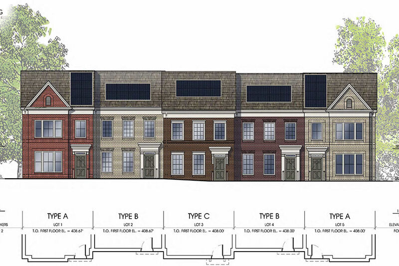 Architectural rendering of the south view of proposed units 1-5. Three styles of homes shown, each with solar panels depicted on each unit's roof.