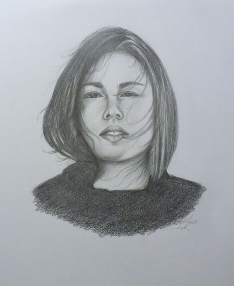 black and white drawing of young girl's face