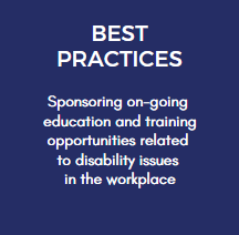 Sponsoring on-going education and training opportunities related to disability issues in the workplace