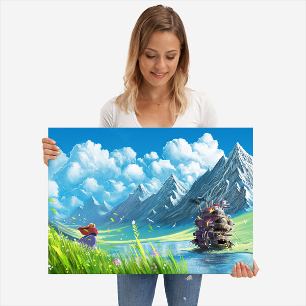 Girl with a howls moving castle print.