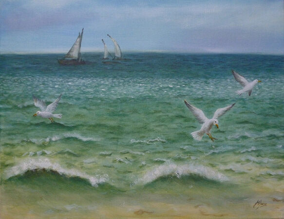 painting of sea and waves with sailing yachts and seagulls flying