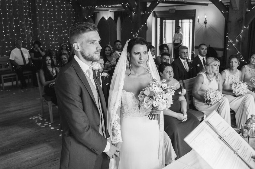 Wedding ceremony at the King Arthur Hotel. Image by Karl Baker photography