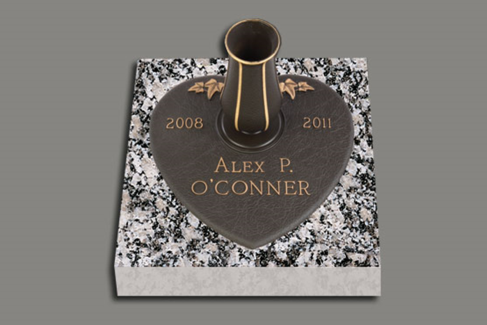 Bronze on Granite Memorial for loss of a child. Bronze memorial provided by Creative Monument for use in restricted cemetery or any cemetery