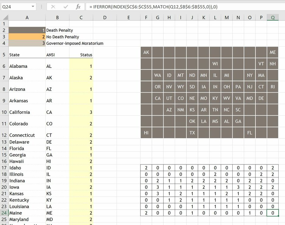 How to create a Grid Map in Excel 6