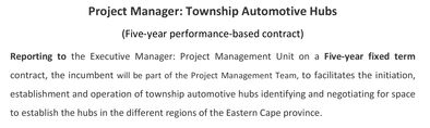 Project Manager   Township Automotive Hubs
