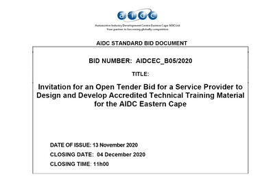 AIDC B05 2020 BID DOCUMENT DESIGN AND DEVELOPMENT OF ACCREDITED TECHNICAL TRAINING MATERIAL