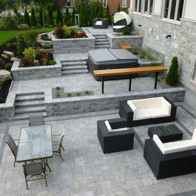 Large backyard living space with surrounding garden