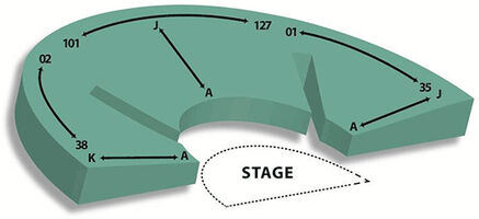 Seating Chart and stage at The Theater Lab
