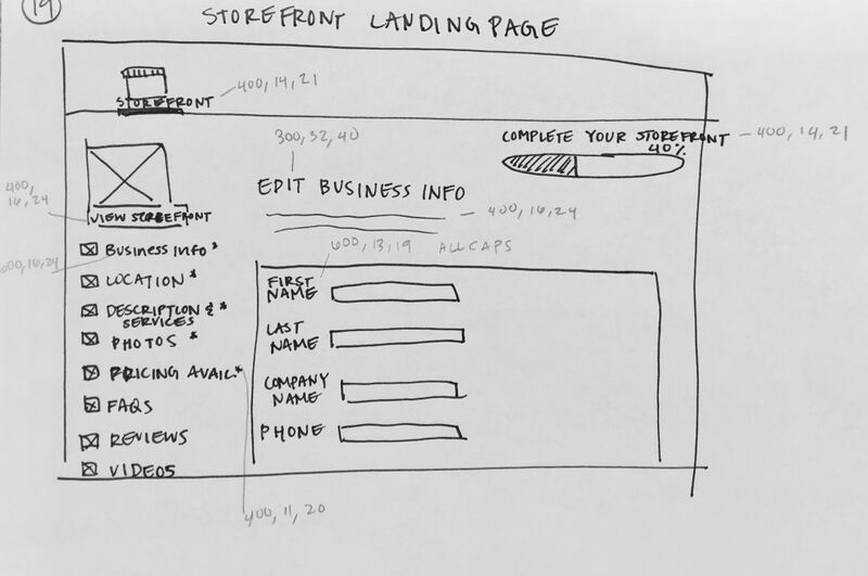 sketch of storefront landing page