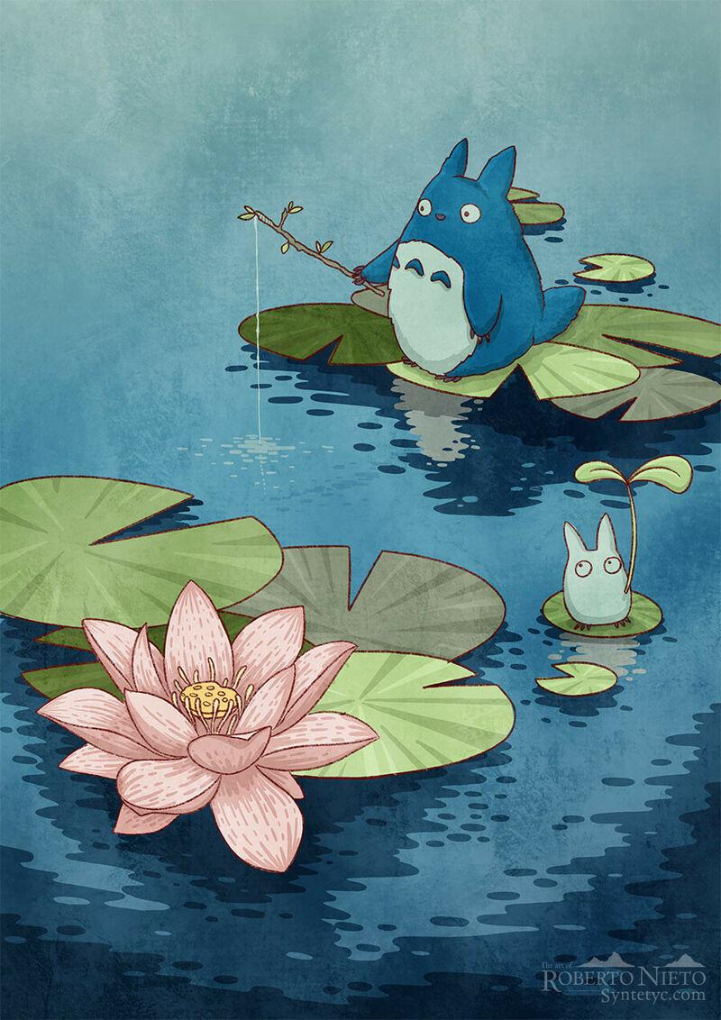 Fan Art of Totoro with an Ukiyo E style. By Roberto Nieto - Syntetyc.com
