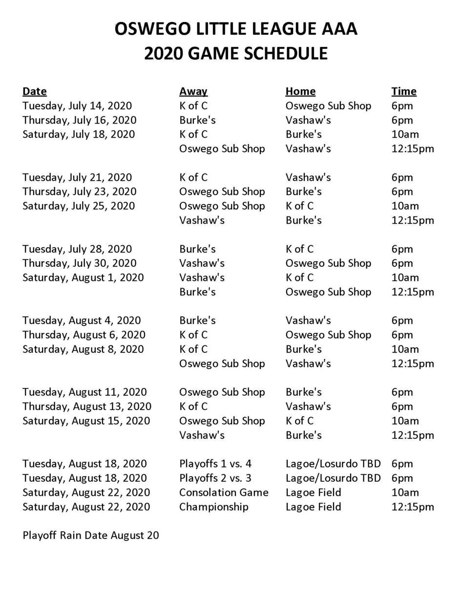 2020 AAA Game Schedule