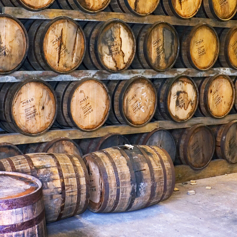 Used and freshly emptied Rum Casks