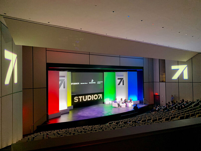 Stage set for event from back of the house 787 Seventh