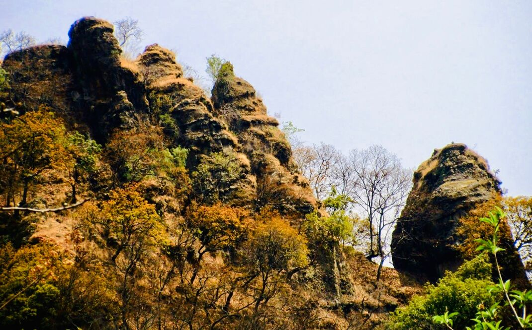 Three or four spires of rock together, with another larger one to the right of that. Some trees in the area.