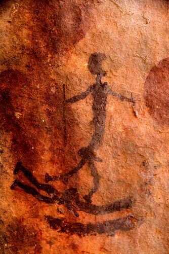 the surfer cave painting in the Cederberg