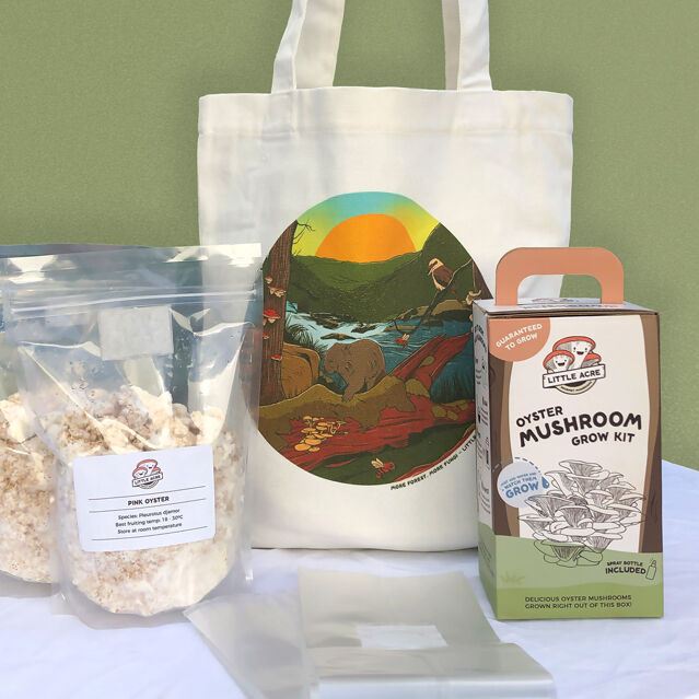 The deluxe goodie bag including an extra grow kit and mushroom spawn.