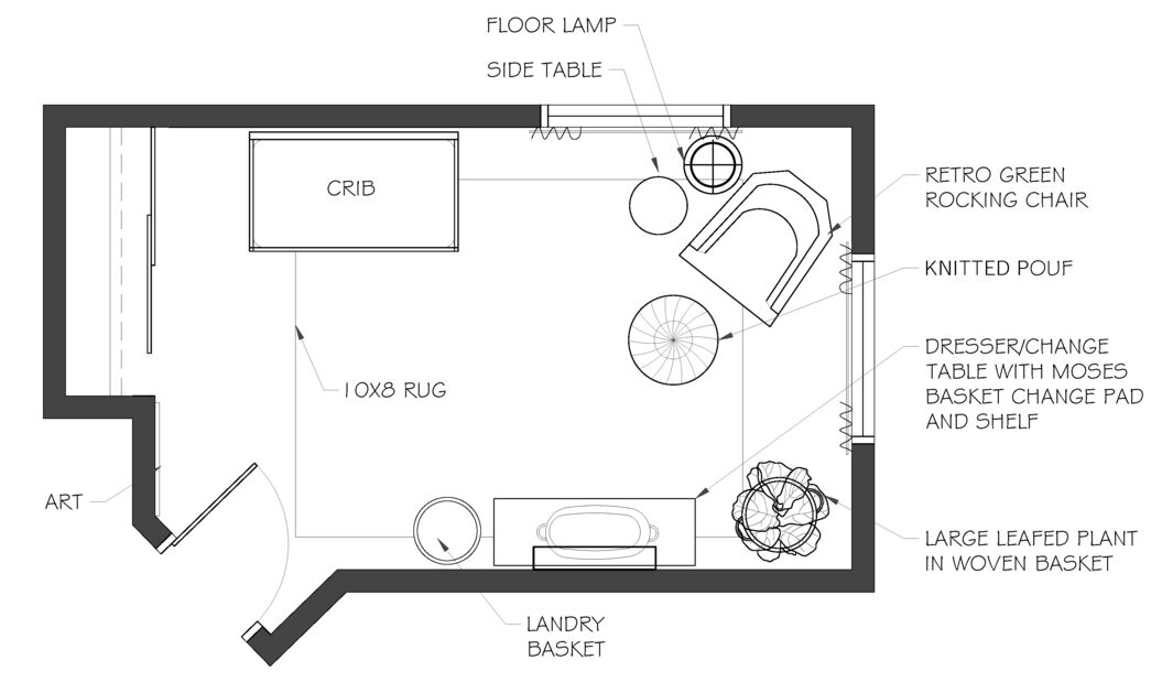 AutoCAD Plan of a nursery configuration showing an example of Eden Design's E-Design services