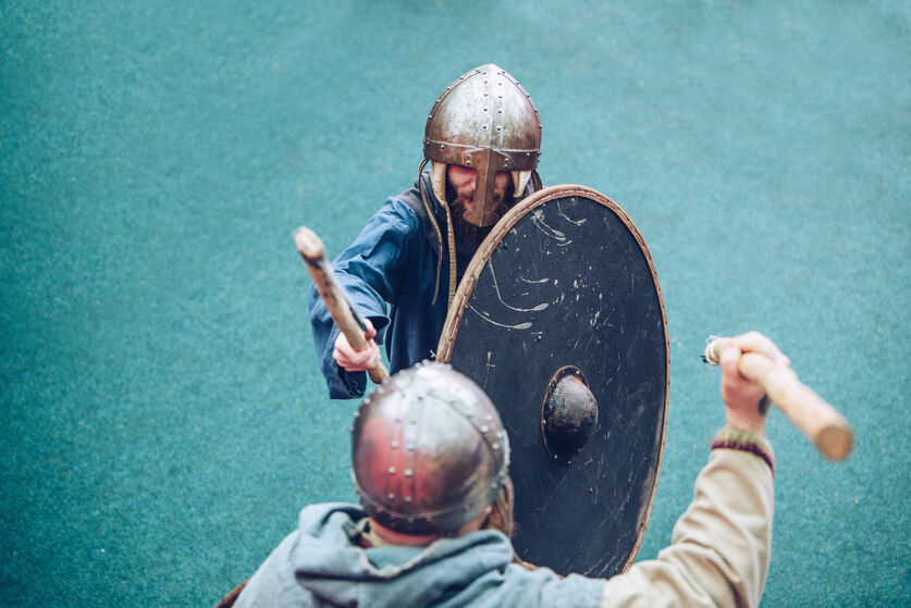 Vikings doing battle at the Gower Heritage centre