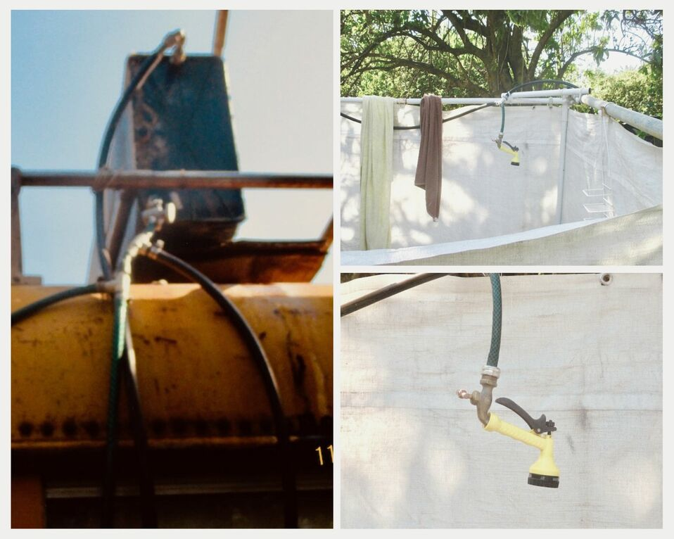 Left: metal box with valve and pipes on roof of bus. Right: outdoor shower stall with fabric curtains, pipe, and shower head.