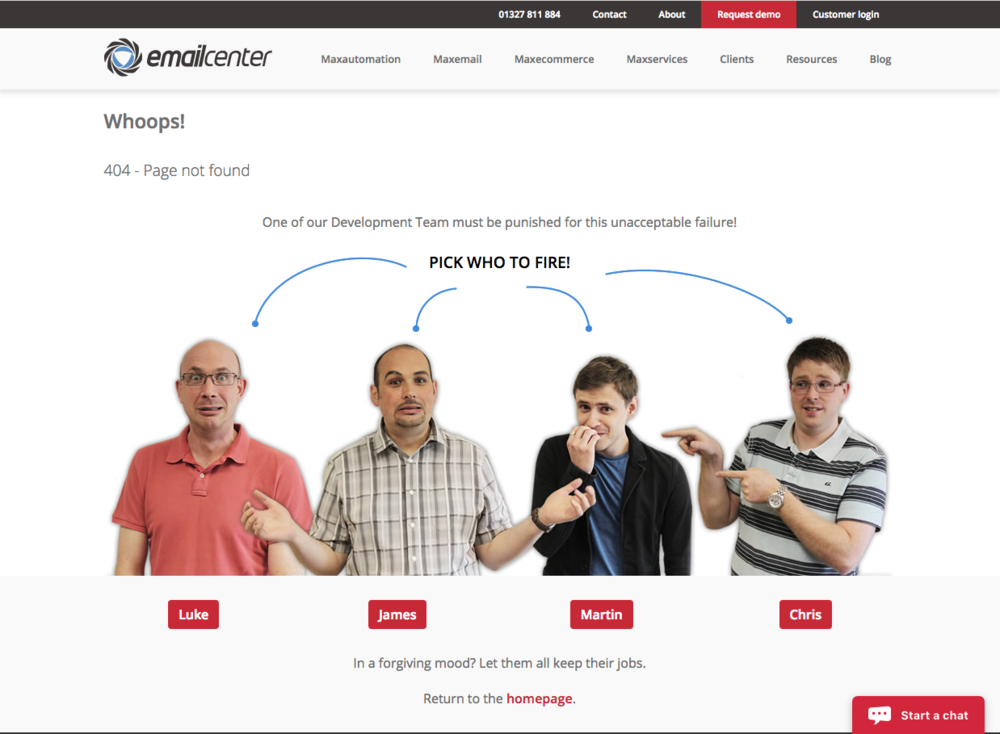 EmailCenter 404 page