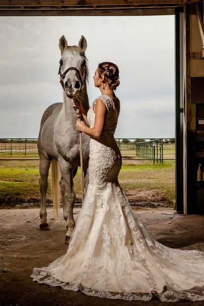 Texas Bride and Stallion at JM Prosperity Farm Rustic Barn Venue in Argyle Texas. Photo by Sergio Mendez at Blazin Events.