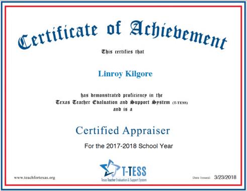 Linroy Kilgore 2017 2018 T TESS