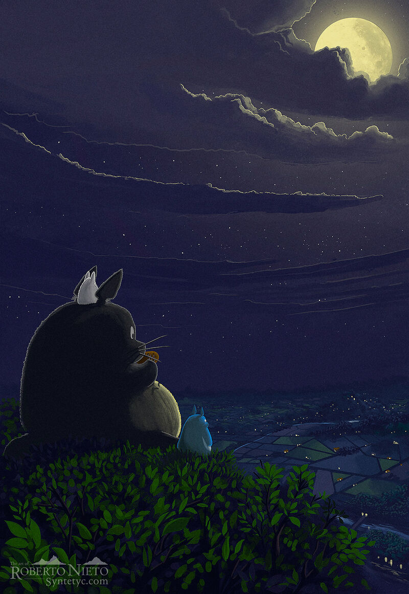 Fan Art of Totoro over its tree playing the ocarina at night. A beautiful landscape. By Roberto Nieto - Syntetyc.com