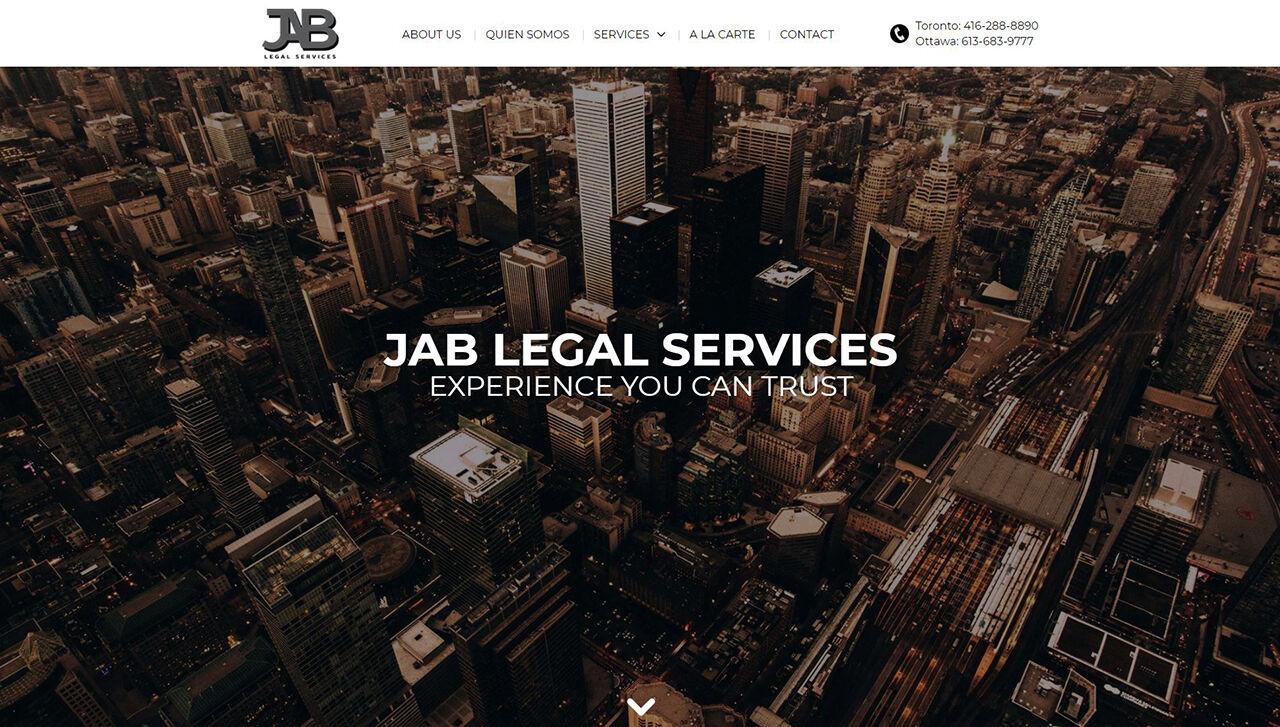JAB Legal Services Website - A Vito Creative Project