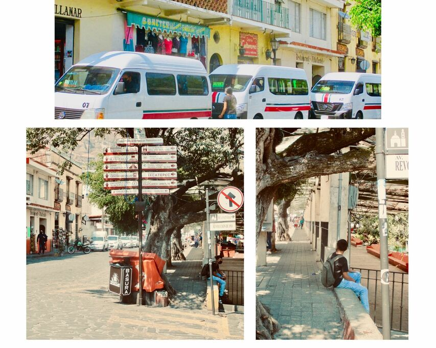 Top image has three mini vans one one side of the street. Lower two images are across the street showing a young man siting on a low wall at streets  side near a street sign pointing tourists towards different attractions.