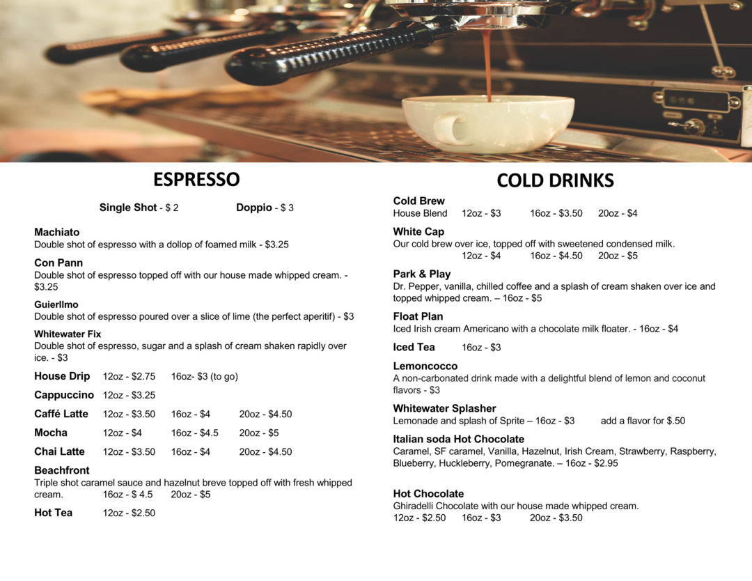Espresso menu with header