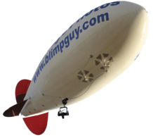 This 29 foot blimp has a camera on the belly for aerial filming.