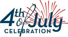 4th of july logo with fireworks 500x277