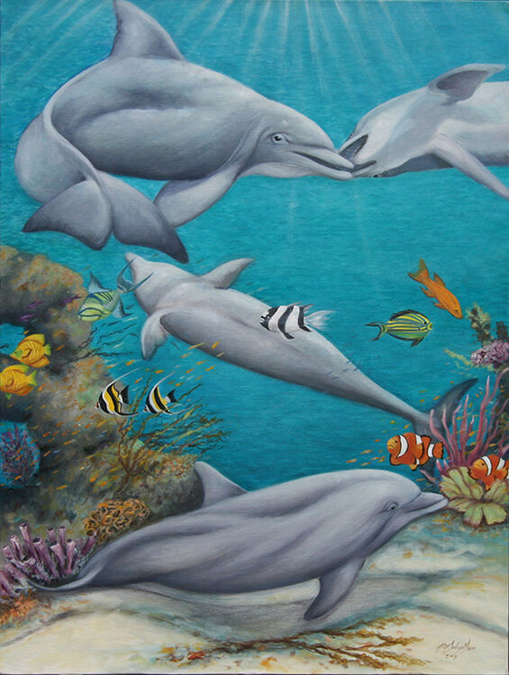 large oil canvas of sporting dolphins in sea