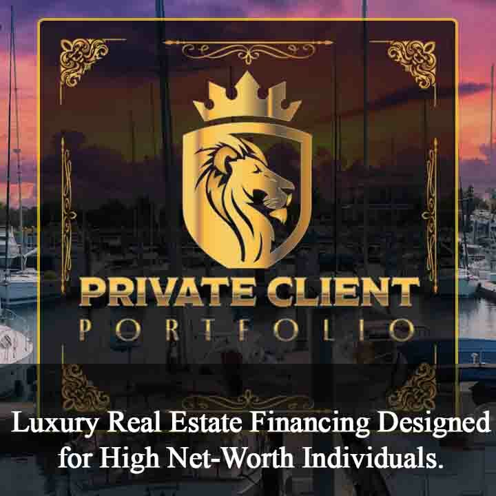 Gold metallic Private Client Portfolio Program logo text with a gold metallic lion's head side profile with a background image of a yacht club boats in a harbor with a purple orange Florida sunset