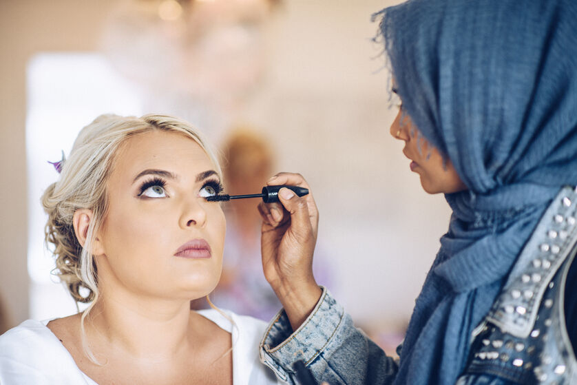 Bridal makeup, makeup by Farhana Ali, photo by Karl Baker photography, wedding at Fairyhill