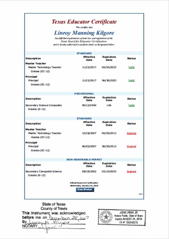 Linroy Kilgore 2019 2020 CertificationsTX