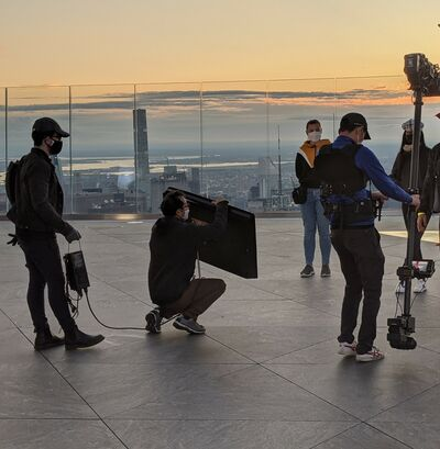Photographer and assistants on location at The Edge @ Hudson Yards.