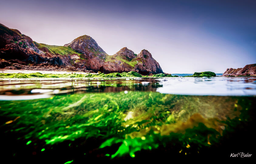 Landscape photography taken with aquatech underwater imaging solutions at three cliffs bay, Gower, Wales