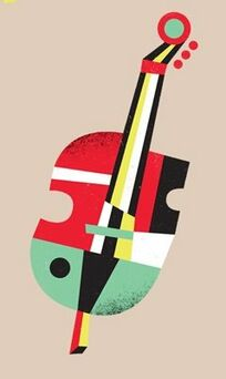 A nice early fifties jazz style graphic image of a double bass