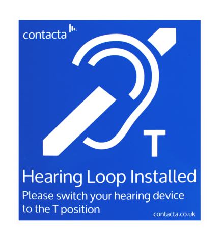 Contacta counter hearing loop sign