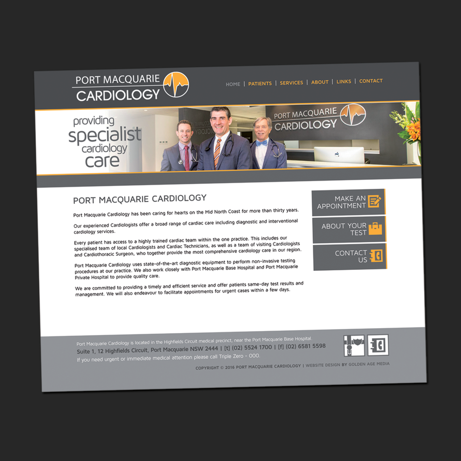 Website front end design for Port Macquarie Cardiology.