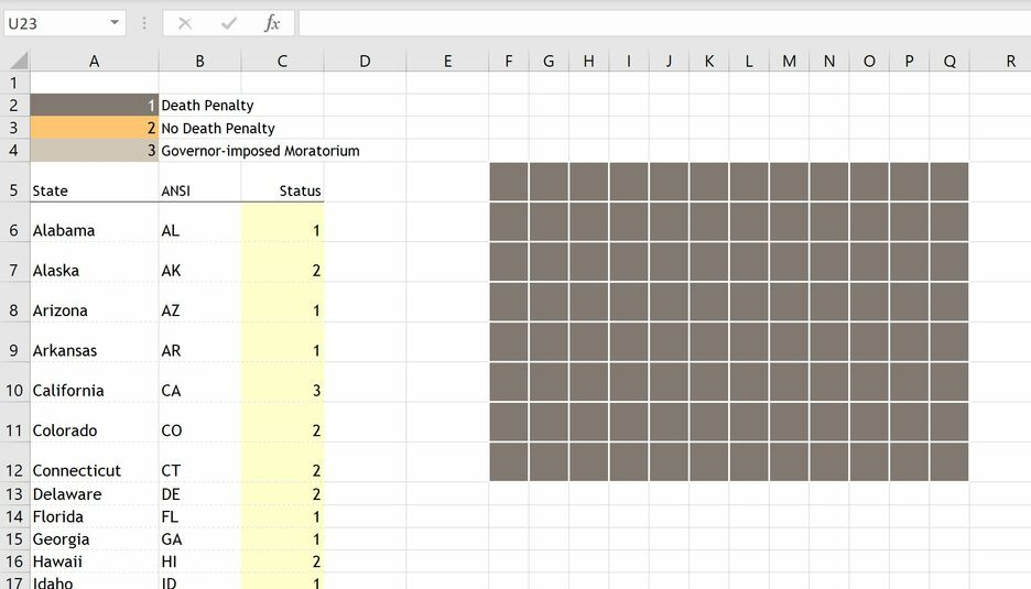 How to create a Grid Map in Excel 4