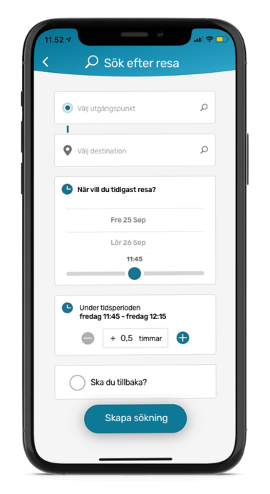 Commuteapp displayed on phone