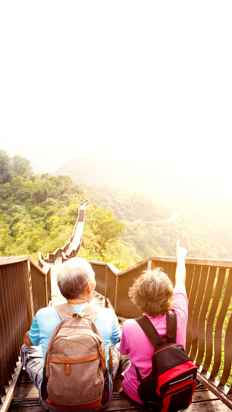 A couple take a break from hiking and point to their next destination as they sit on a long, wooden staircase, on top of a forested hill.