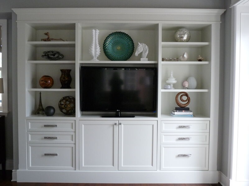 Custom built-in media unit with open shelving