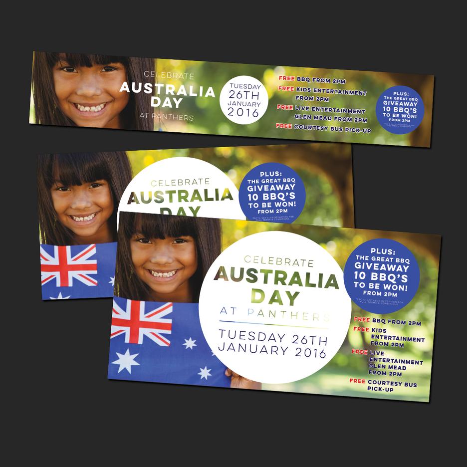 Social Media Design for Port Macquarie Panthers Australia Day Event - Web Banner Design, Social Media Design, EDM Design.