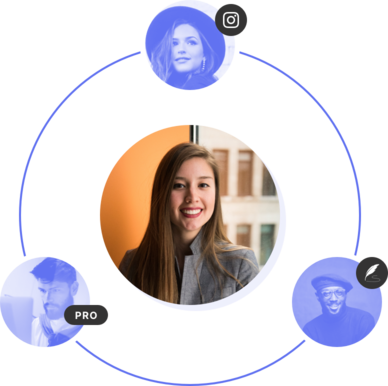A website owner in the middle surrounded by a  team consisting of a Pagecloud pro, social media professional and a writer.