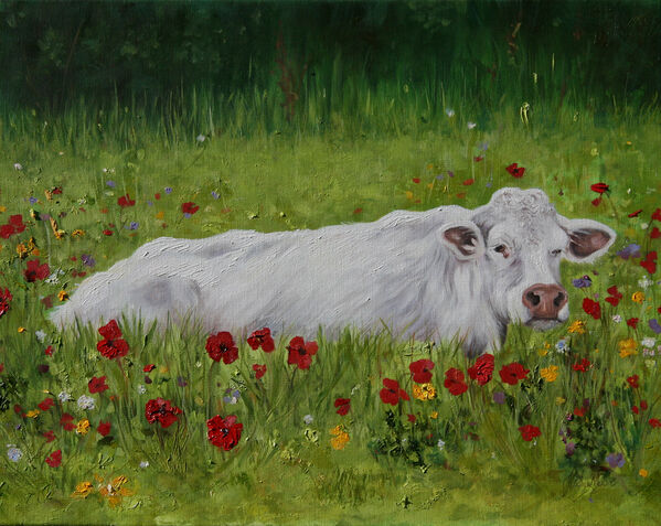 contemporary Oil painting cow in wildflower meadow