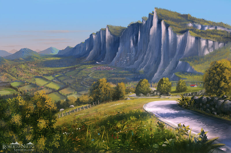 Illustration of a country road wit a beautiful views of distant valley. By Roberto Nieto - Syntetyc.com